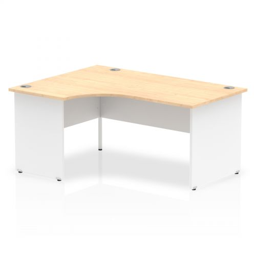 Impulse Panel End 1600 Left Hand Crescent Desk Maple Top White Panels