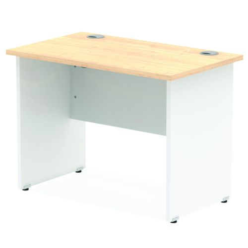Impulse Panel End 1000/600 Rectangle Desk Maple Top White Panels