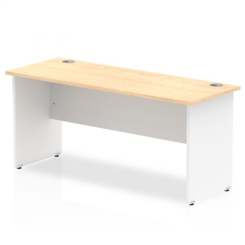 Impulse Panel End 1600/600 Rectangle Desk Maple Top White Panels