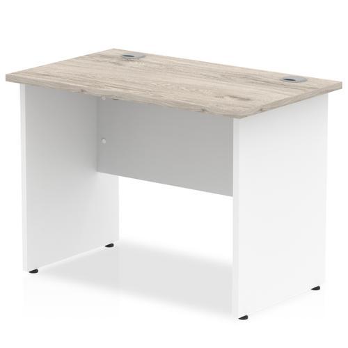Impulse Panel End 1000/600 Rectangle Desk Grey Oak Top White Panels