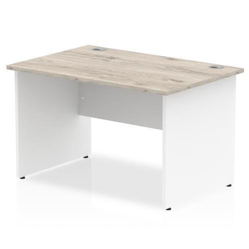 Impulse Panel End 1200 Rectangle Desk Grey Oak Top White Panels