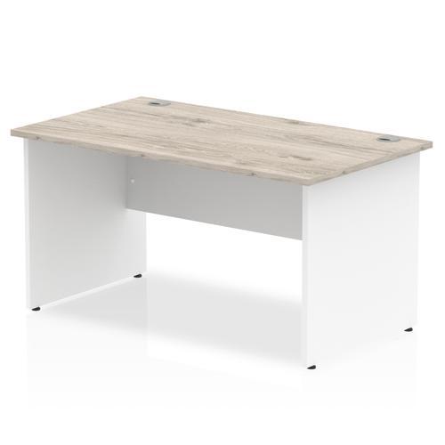 Impulse Panel End 1400 Rectangle Desk Grey Oak Top White Panels