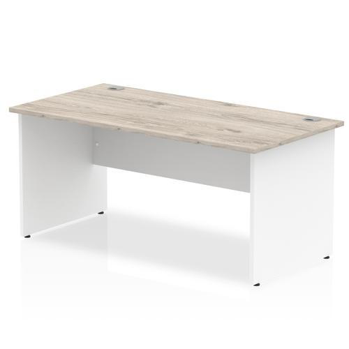Impulse Panel End 1600 Rectangle Desk Grey Oak Top White Panels