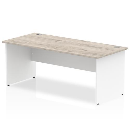 Impulse Panel End 1800 Rectangle Desk Grey Oak Top White Panels