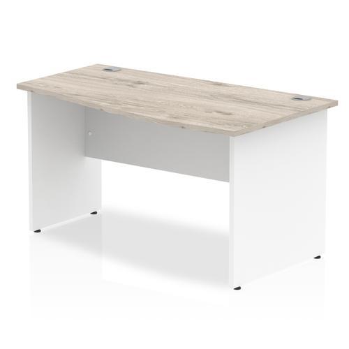 Impulse Panel End 1400 Right Hand Wave Desk Grey Oak Top White Panels