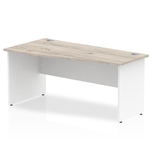 Impulse Panel End 1600 Left Hand Wave Desk Grey Oak Top White Panels