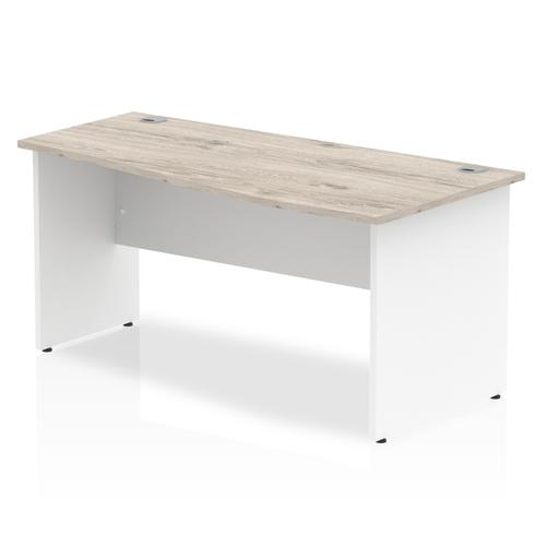 Impulse Panel End 1600 Right Hand Wave Desk Grey Oak Top White Panels