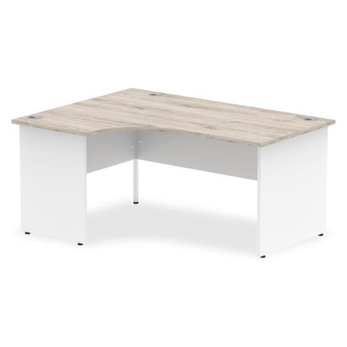 Impulse Panel End 1600 Left Hand Crescent Desk Grey Oak Top White Panels