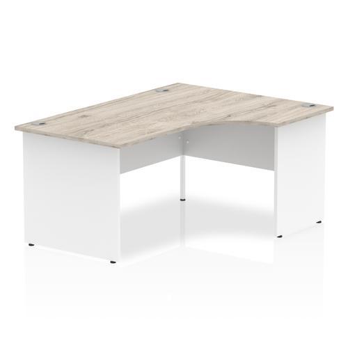 Impulse Panel End 1600 Right Hand Crescent Desk Grey Oak Top White Panels