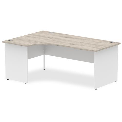 Impulse Panel End 1800 Left Hand Crescent Desk Grey Oak Top White Panels