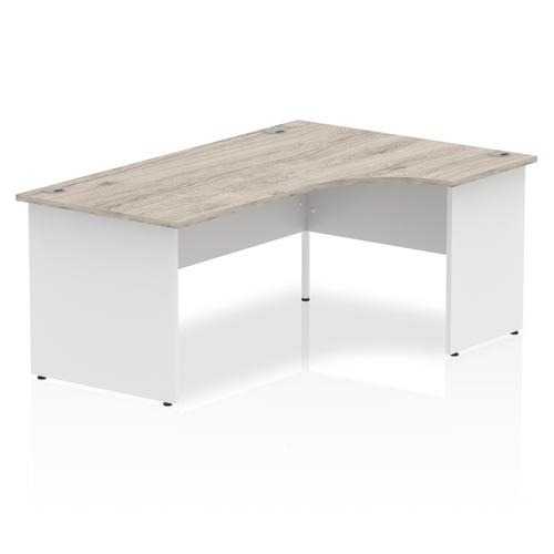 Impulse Panel End 1800 Right Hand Crescent Desk Grey Oak Top White Panels