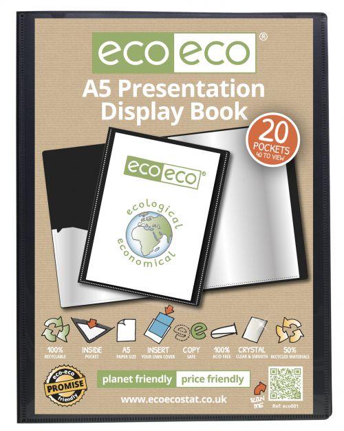 A5 50% Recycled 20 Pocket Presentation Display Book
