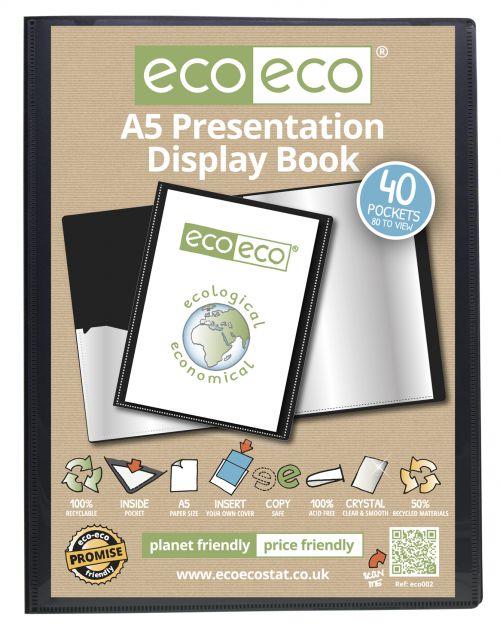 A5 50% Recycled 40 Pocket Presentation Display Book