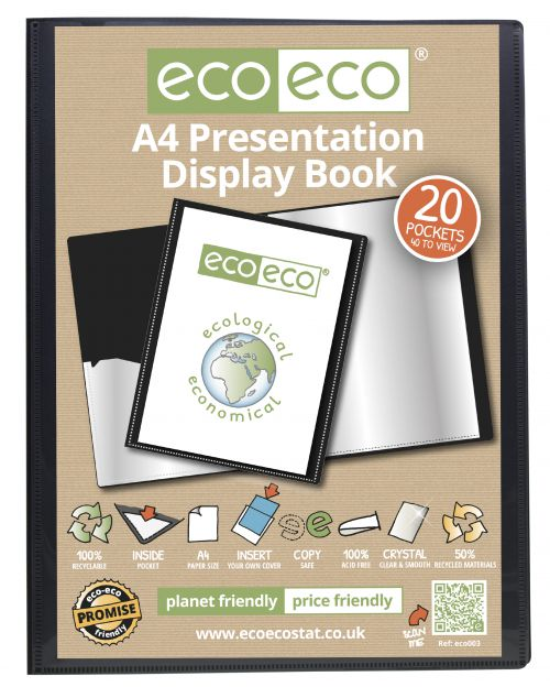 A4 50% Recycled 20 Pocket Presentation Display Book