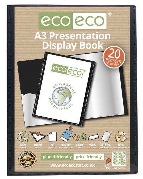 A3 50% Recycled 20 Pocket Presentation Display Book