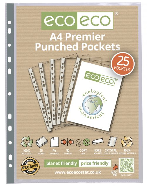 A4 100% Recycled Bag 25 Premier Multi Punched Pockets