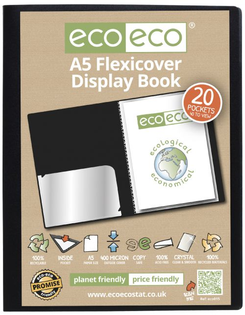 A5 100% Recycled 20 Pocket Flexicover Display Book
