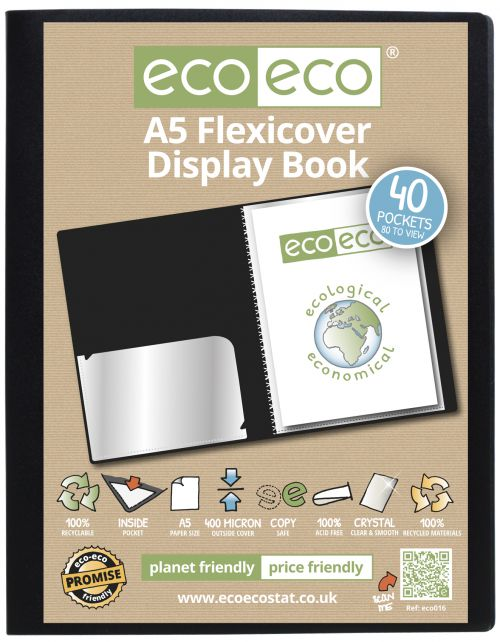A5 100% Recycled 40 Pocket Flexicover Display Book