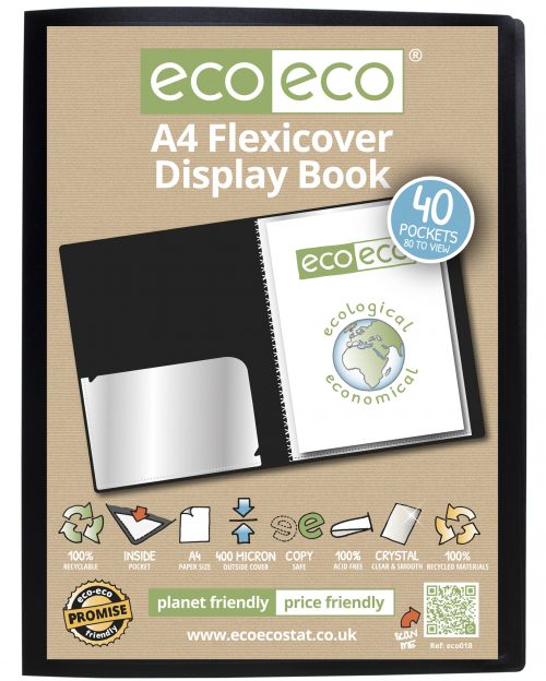 A4 100% Recycled 40 Pocket Flexicover Display Book