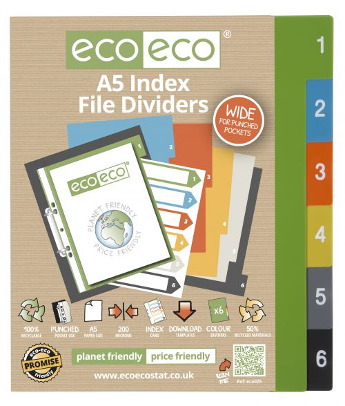 A5 50% Recycled Set 6 Wide Index File Dividers