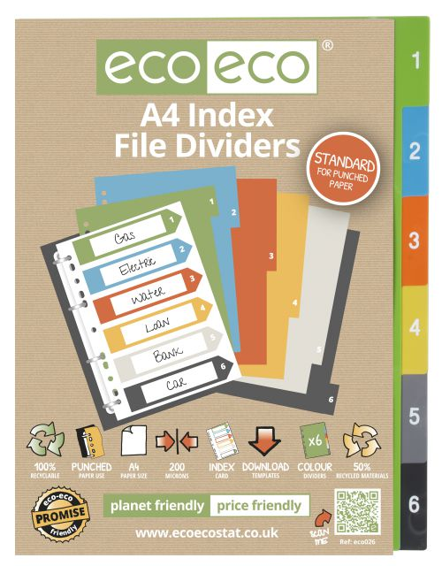 A4 50% Recycled Set 6 Index File Dividers