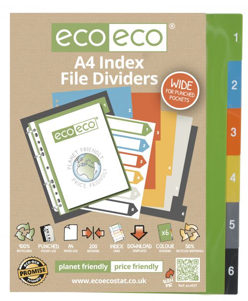 A4 50% Recycled Set 6 Wide Index File Dividers