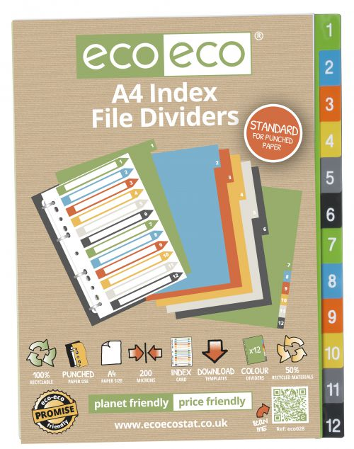 A4 50% Recycled Set 12 Index File Dividers