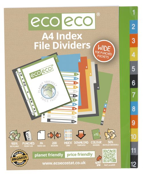 A4 50% Recycled Set 12 Wide Index File Dividers