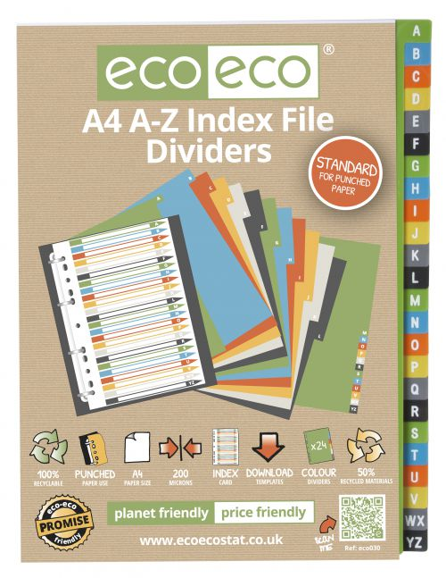 A4 50% Recycled Set 24 A-Z Index File Dividers