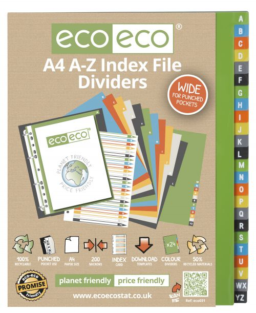 A4 50% Recycled Set 24 A-Z Wide Index File Dividers