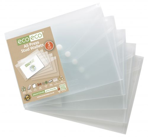 Pack 5 A5 95% Recycled Press Stud Wallets