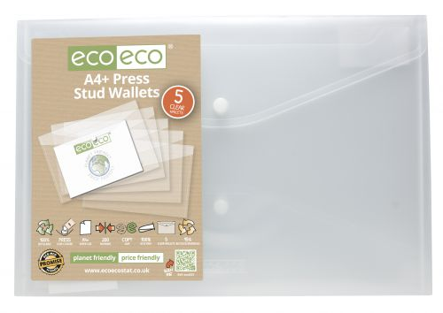 Pack 5 A4+ 95% Recycled Press Stud Wallets