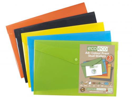 Pack 5 A4+ 50% Recycled Colour Press Stud Wallets