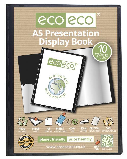 A5 50% Recycled 10 Pocket Presentation Display Book