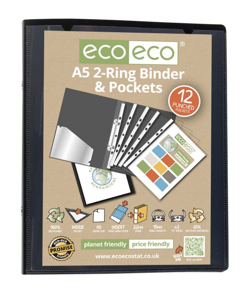A5 65% Recycled Ring Binder with 12 Multi Punched Pockets