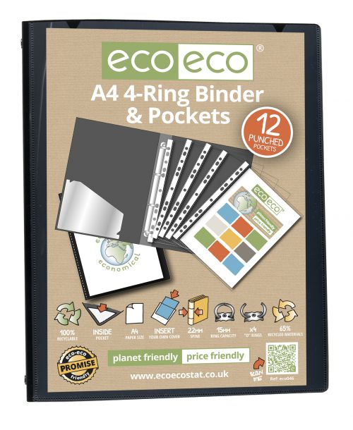 A4 65% Recycled Ring Binder with 12 Multi Punched Pockets