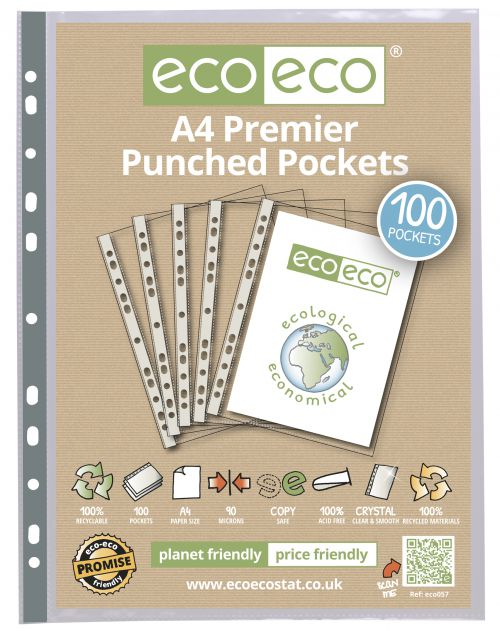 A4 100% Recycled Bag 100 Premier Multi Punched Pockets