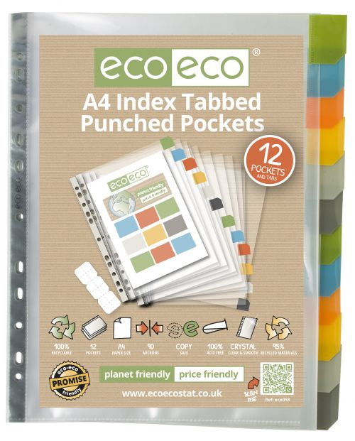 A4 95% Recycled Set 12 Index Tabbed Premier Punched Pockets