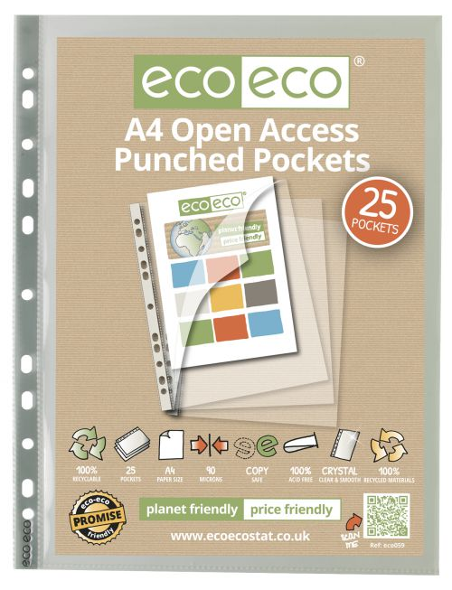 A4 100% Recycled Bag 25 Premier Open Access Multi Punched Pockets