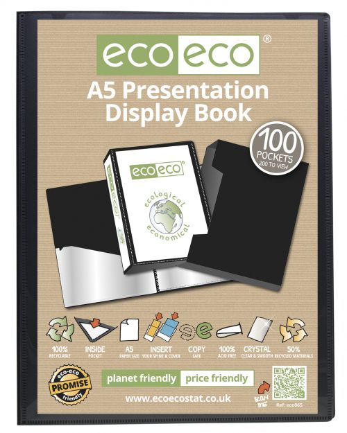 A5 50% Recycled 100 Pocket Presentation Display Book & Box