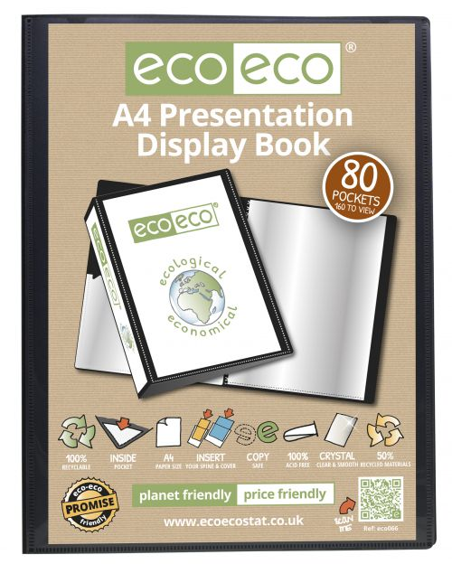 A4 50% Recycled 80 Pocket Presentation Display Book