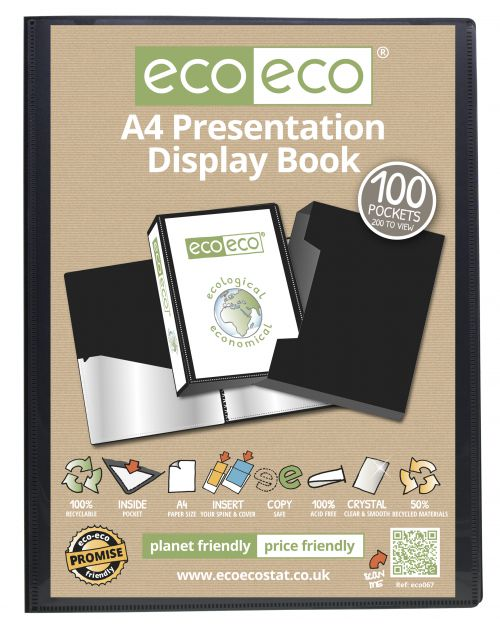 A4 50% Recycled 100 Pocket Presentation Display Book & Box