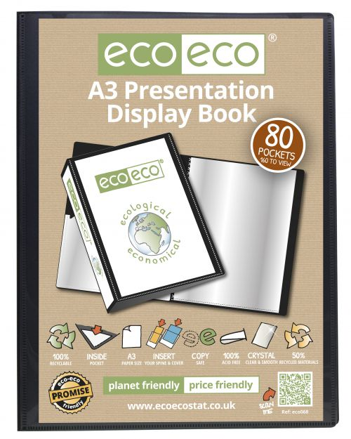 A3 50% Recycled 80 Pocket Presentation Display Book