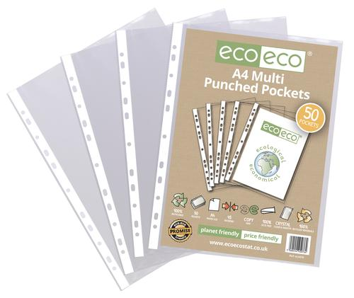 A4 100% Recycled Bag 50 Multi Punched Pockets