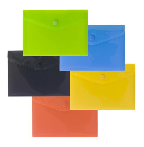 Pack 5 A6 50% Recycled Colour Press Stud Wallets