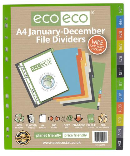A4 50% Recycled January - December Wide Index File Dividers