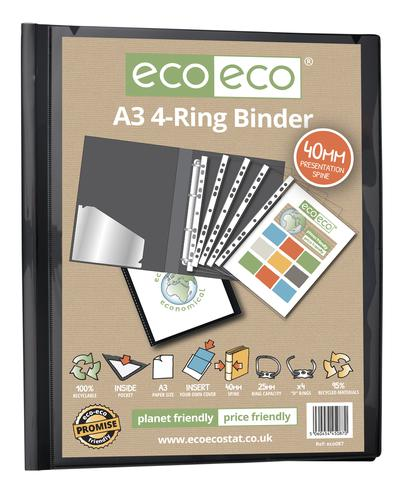A3 95% Recycled Presentation 4 Ring Portrait Binder