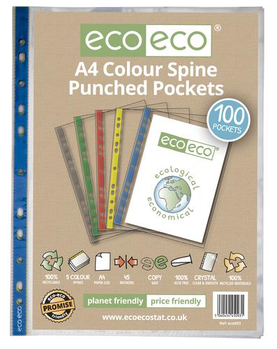 A4 100% Recycled Bag 100 Colour Spine Multi Punched Pockets