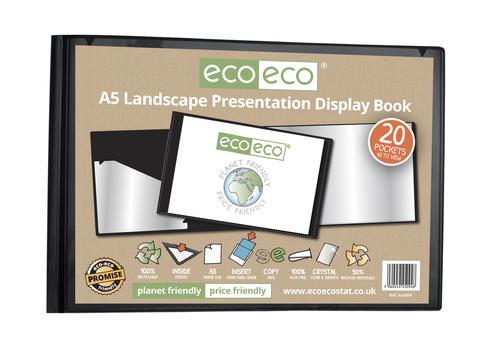 A5 50% Recycled 20 Pocket Landscape Presentation Display Book