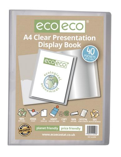 A4 50% Recycled Clear 40 Pocket Presentation Display Book
